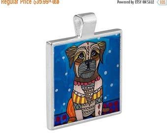 Border Terrier Dog Jewelry - Pendant Metal  Gift Art Heather Galler Vegan Dog Animal Lovers