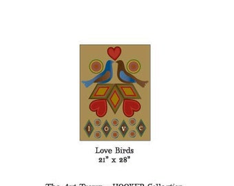 """Love Birds ~ 21"""" x 28"""" Paper Pattern for HOOKED RUG by The Art Tramp/HOOKER Collection"""