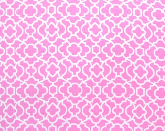 Flannel Fabric by the Yard in a Pink with White Fancy Trellis Print 1 Yard