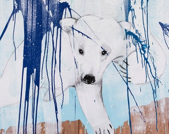 Bear print, Polar Bear print, Arctic Animals Art, Kids Room Poster ,Bear Print, Nursery Decor, Nursery Wall Art, Bear Cub Painting #534BR
