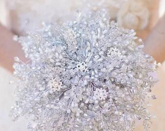 IVORY SNOWFLAKE BOUQUET, Extra large Brides bouquet, winter wedding, silver bouquet, beaded bouquet, brooch bouquet, wedding bouquet,