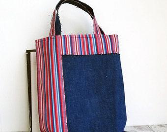 Small Denim Tote Bag | Lunch Bag | Candy Stripe and Denim Book Bag