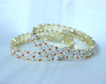 Set Of Two 2.6 inch Cz Ruby Bangles / Cz and Ruby Bracelet / Indian Cz Bangles / Wedding Jewelry / Gift For Her / Bridal Jewelry