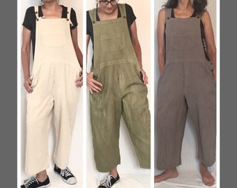 Hand Woven Cotton Bib Overalls, Earthy Colors, Bib Rompers, bib overalls, women's cotton overalls, summer overalls, plus size, brown, beige
