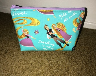 Tangled, rapunzel cosmetic bag, zipper pouch
