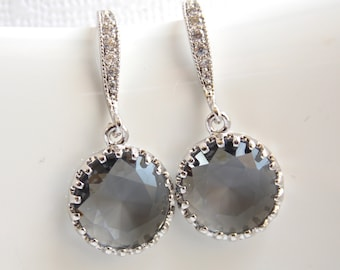 Gray Earrings, Grey, Charcoal, Glass, Dangle, Cubic Zirconia, Wedding Jewelry, Bridesmaid Jewelry, Bridesmaid Earrings, Bridesmaid Gifts