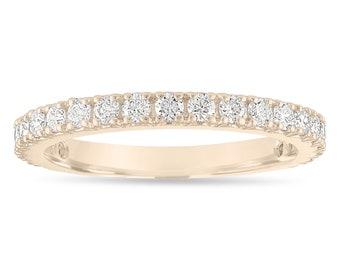 0.63 Carat Diamond Wedding Ring, Half Eternity Wedding Band, Diamonds Anniversary Ring, 14k Yellow Gold Certified Handmade