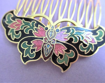 Cloisonne Hair Comb Butterfly Hair Pin Black Red Peach Vintage Hair Accessory Enamel Jewelry Gift Asian Cloisonne Butterfly Hair Comb