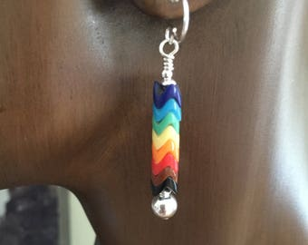 Snake Bead Glass Rainbow Earrings