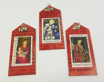 Madonna and Child Ornament, Mary and Jesus Tiny Art Shrine Postage Stamp Art Hope Love Joy