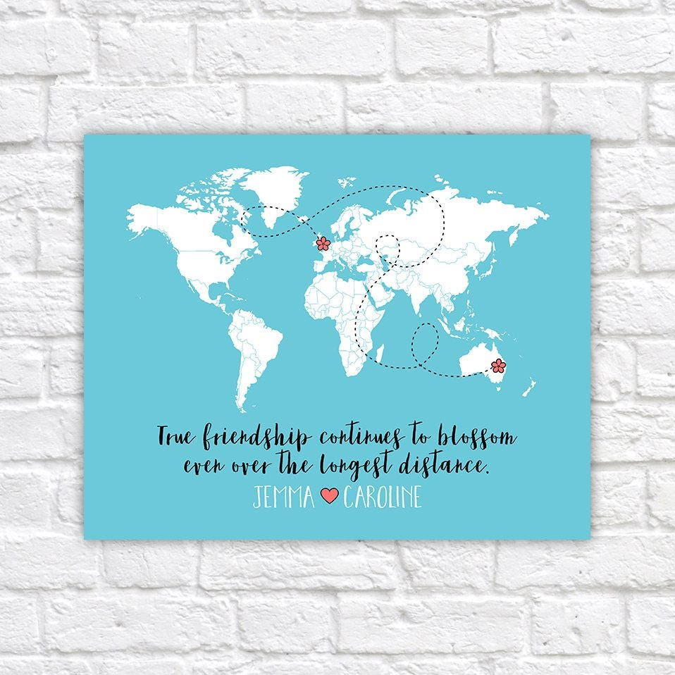 Long distance best friends custom art personalized world map best long distance best friends custom art personalized world map best friend birthday gift peach and mint moving away flowers floral wf78 gumiabroncs Image collections