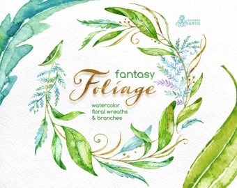 Fantasy Foliage. Watercolor floral wreaths, branches, leaves, wedding invitation, greeting card, diy clip art, green leaf, greenery, leafage