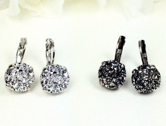 Swarovski 12MM Drop Earrings - White (Faux) Druzy  OR Black (Faux) Druzy    Classic Drama - FREE SHIPPING