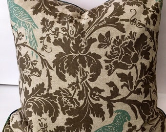 Taupe Grey Blue Floral Birds Decorator Throw Pillow Cover 22 inch Square
