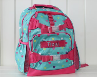 Small Size Pottery Barn Backpack With Monogram -- Aqua/Pink Heart