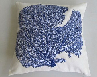 white and cobalt coral pillow - cobalt blue coral embroidery on white pillow cover 16 inch custom  made