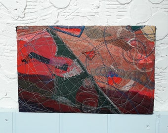 Stretched canvas art - machine embroidered collage