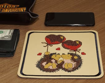 PU leather embroidered table tray Two hedgehogs