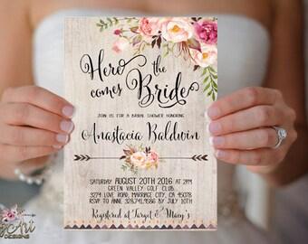 Floral Bridal Shower Invitation Printable or Printed Boho Bridal Shower Invite Rustic Bridal Shower Bohemian Peony Bridal Shower invitations