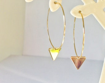 Hoop Earrings With Charm,Triangle Earrings,  Geometric Earrings, #109