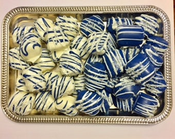 48 Piece Blue/White/Silver Mini Marshmallow Bites, Blue/White/Silver Chocolate Covered/Dipped Marshmallow Bites, Blue Candy Buffet Table