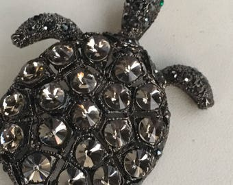 Marcasite and Crystal Turtle Brooch Very Nice