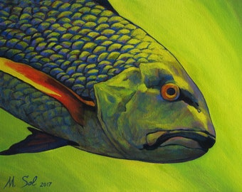 Original Acrylic Painting on Canvas, Emerald Fish, Fish painting by Michael Sol, The Fish, 16x12
