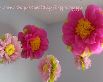 1st Birthday Decorations -5 Tissue Paper Pom Poms/ Flowers -  Perfect Decorations for  Wedding, Birthday Party & Baby Shower