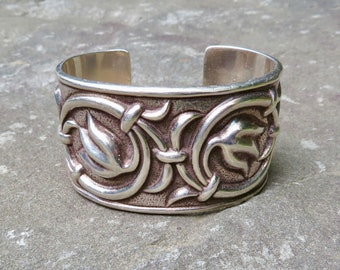 Vintage Mexican Silver, Taxco Silver Jewelry, Taxco Silver Bracelet, Silver Cuff, Bernice Goodspeed, Mexican Jewelry, Large Size Bracelet