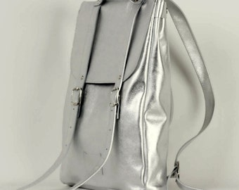 Silver colored middle size leather backpack rucksack / To order / Leather Backpack / Leather rucksack / Womens backpack / Christmas Gift