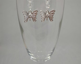 Silver Plated Butterfly Drop Earrings with Swarovski Bicone Crystals Beads
