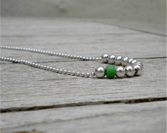 """Pearl Necklace silver - necklace 925 Sterling Silver-""""love"""" - green - silver ball necklace - 925 Silver 80 cm silver chain - long necklace - necklace"""