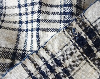 Old Indigo and White Plaid Linen Homespon 3+ Yds