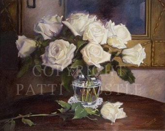 Art print - Art with roses - Roses art print - 8x10 art print with roses home and living