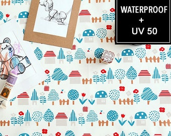 WATERPROOF AND UV 50+ Fabric -by Yard (150cm Width), Tiny village