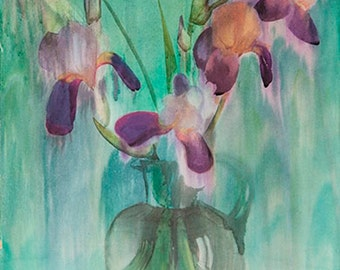 Irises on  an emerald background