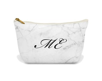 Personalised Makeup Bag, Custom Makeup Bag, your name on a bag, Zipper Pouch, Marble Makeup bag, Cosmetic bag, beauty bag, Frazzleflorrie
