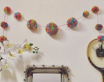 Multicoloured candy Pompom bunting/garland-handmade and unique