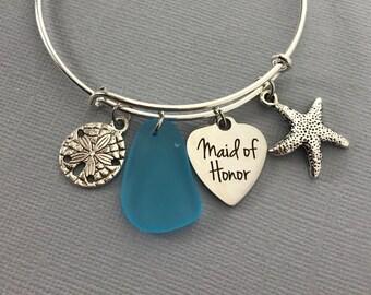 Maid of Honor Gift - Sea Glass - Destination Wedding -  Beach Wedding - Bridal Party Gifts - Maid of Honor Gift Ideas - Bridesmaid Gift Idea