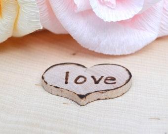 Love Charm, Love Token, Wooden Heart, Confetti