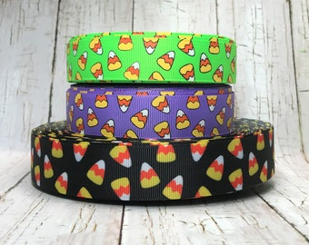 """1"""" - 7/8"""" Halloween Holiday Witches Candy Corn Bats Neon Colors Black Grosgrain Hairbow Ribbon - Balck is 1"""" Sold by 5 Yards"""