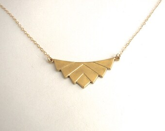 Raw Brass Chevron Necklace, Gold Chevron Necklace - 14K Gold-Filled chain