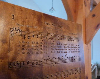 Holy, Holy, Holy hymn carving on Maple wood