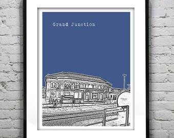 Grand Junction Skyline Poster Art Print Colorado CO Version 1
