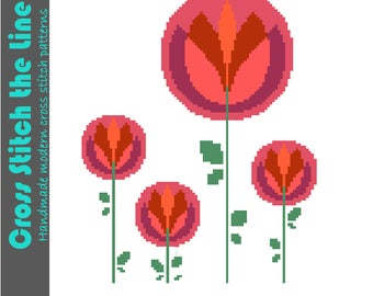 Modern cross stitch pattern of a group of round retro flowers. Contemporary embroidery design. PDF chart for instant download.