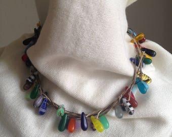 Tear drop Multi-colored African glass bead choker