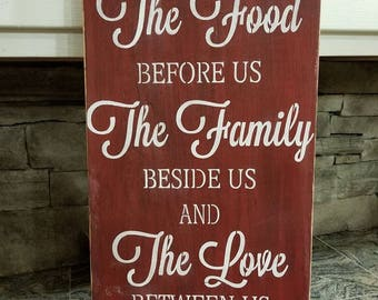 Bless The Food Before Us sign