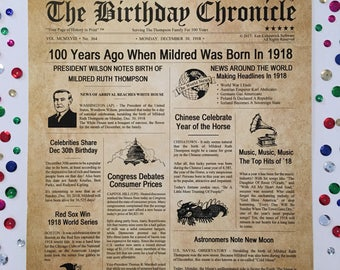 100th Birthday Gifts, Personalized, Headline News Print, Time Capsule, Newsletter Style, 1918 Birthday Gift, Chronicle, 100th Milestone Gift
