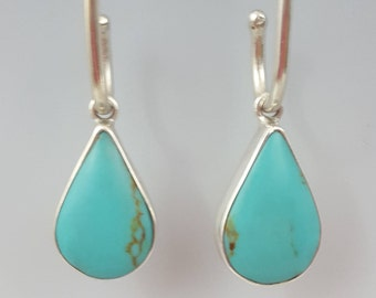 Turquoise Teardrop in Sterling Silver Tube Drops