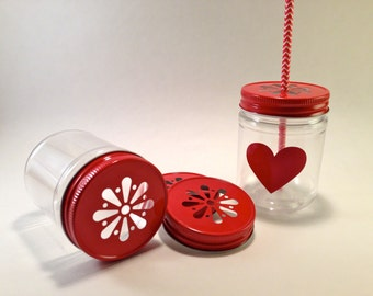 Valentines day party Red daisy lids with plastic mason jar and heart label weddings baby shower birthday party carnival popcorn sack